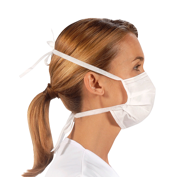 Valmy, Surgeor, Surgical masks with ties, Fluid resistant, white, 500/case