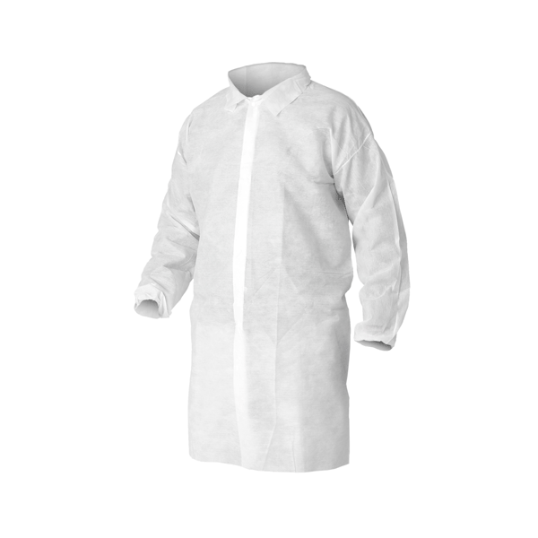 AMD, SMS Disposable Lab Coats, Large, White, 50/case