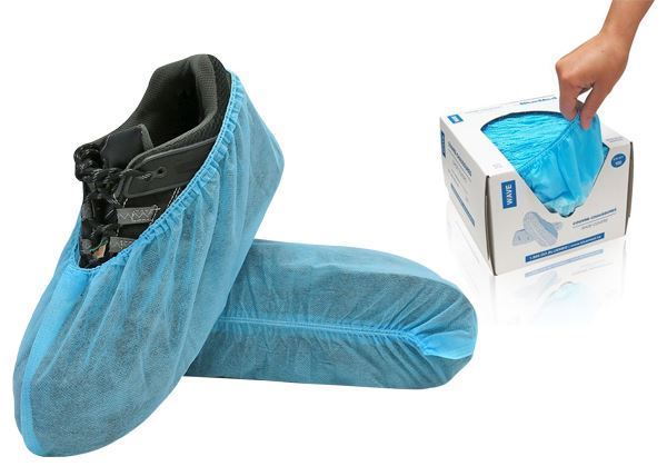 WAVE™ Shoe Covers, without anti-skid tread, Universal Size, Blue, Dispensing Boxes, 600u./case