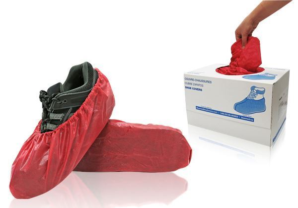 Rave Shoe Covers, Universal, Red, in dispenser boxes, 300/case