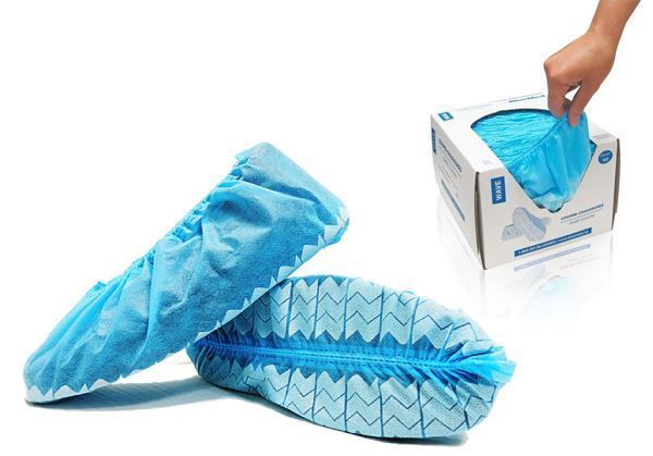 WAVE™ Shoe Covers, with anti-skid tread, Universal Size, Blue, Dispensing Boxes, 600u./case