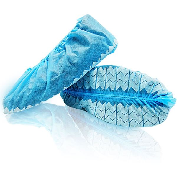 WAVE™ Shoe Covers, with anti-skid tread, Universal Size, Blue, in bulk bags, 300u./case